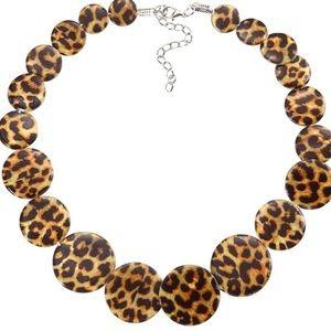 Leopard print acrylic necklace